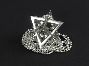 Star Tetrahedron pendant #Silver in Fine Detail Polished Silver