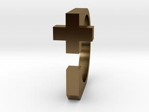 Realist cross ring size 8 U.S. in Polished Bronze