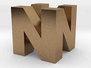 "N64 Logo - 2"" Cube Desk Object in Natural Brass"