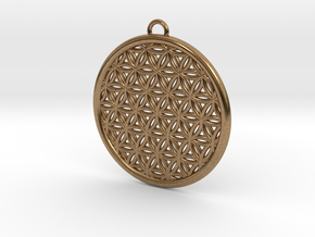 Flower Of Life Pendant  in Natural Brass