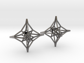 Hexaedron Earrings in Polished Nickel Steel