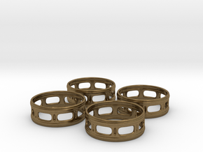 Windowed Napkin Rings (4) in Natural Bronze
