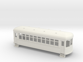 HO Gauge  short trolley car in White Natural Versatile Plastic