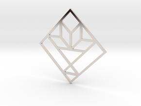 Cactus Basket Quilt Block Pendant in Platinum