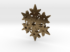 Wings Snowflake - 3D in Natural Bronze