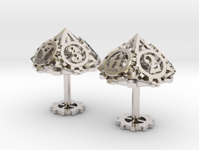 Steampunk Gear Cufflinks in Platinum