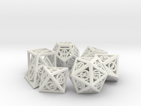 Deathly Hallows Dice Set in White Natural Versatile Plastic