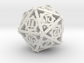 Steampunk d20 in White Natural Versatile Plastic