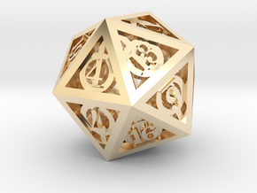 Deathly Hallows d20 in 14K Yellow Gold