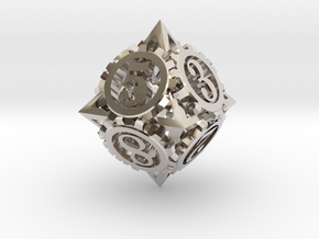 Steampunk Gear d8 in Platinum