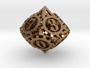 Steampunk Gear d10 in Natural Brass