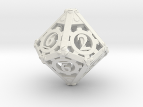 Steampunk d10 in White Strong & Flexible