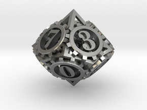Steampunk Gear d10 in Natural Silver