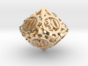 Steampunk Gear d00 in 14K Gold