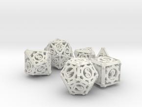 Steampunk Dice Set noD00 in White Natural Versatile Plastic