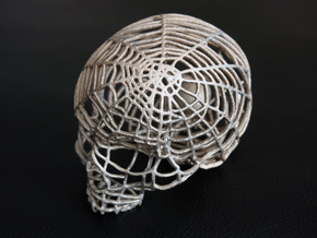 Black Widow Spiderweb Skull in Stainless Steel