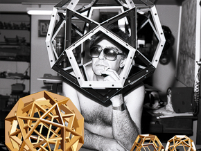 Polyhedral Sculpture #23B in Polished Gold Steel