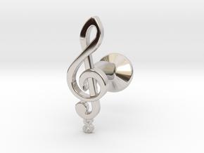 Tenor Treble Clef Cufflink (single) in Platinum