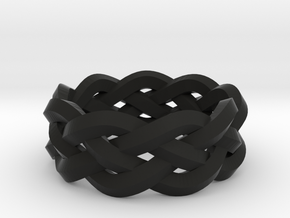 Four-strand Braid Ring in Black Natural Versatile Plastic