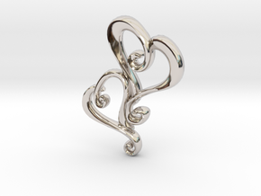 Swirly Hearts Pendant/Keychain in Platinum