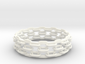 Open Chain Bangle in White Processed Versatile Plastic
