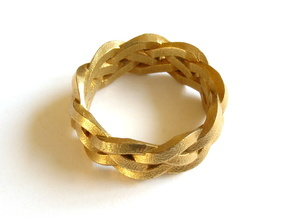 Four-strand Braid Ring in Raw Brass