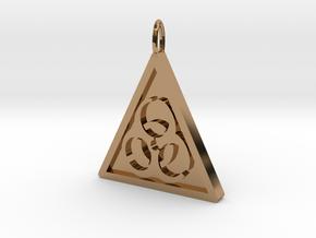Bio-hazard Pendant in Polished Brass