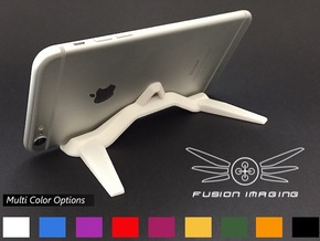 Mini Tablet / Phablet Stand in White Strong & Flexible Polished