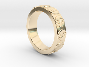 Yin Yang Ring - EU Size 62 in 14K Yellow Gold