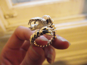 Viper Fish Ring  in Fine Detail Polished Silver