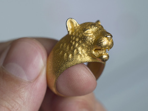 Leoparg Ring in Polished Gold Steel