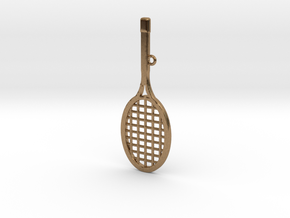 Tennis Racket Pendant in Natural Brass