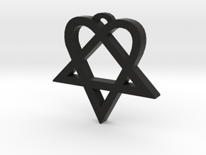 Heartagram (S) in Black Natural Versatile Plastic