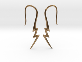 Lightning Bolt Earrings - 14g in Raw Brass