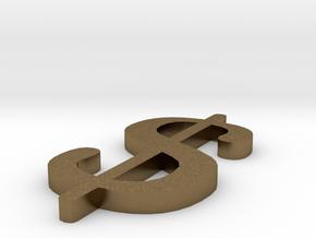 Dollar - $ in Raw Bronze