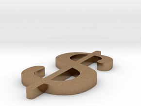 Dollar - $ in Natural Brass