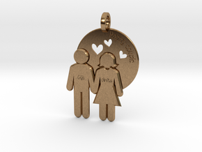 Wedding Present Pendant husband and wife in Natural Brass