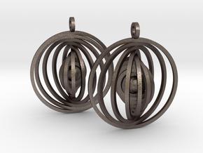 Orbital Earrings in Polished Bronzed Silver Steel