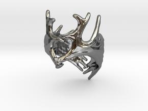 (Size 9) Moose Antler Ring in Fine Detail Polished Silver