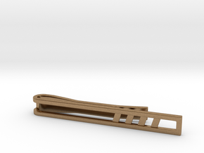 Minimalist Tie Bar - Quad Slash in Natural Brass