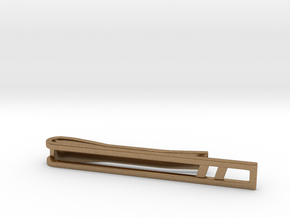 Minimalist Tie Bar - Double Slash in Natural Brass