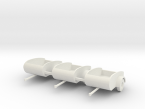 Tear Drop trailers HO scale X3 in SWF in White Natural Versatile Plastic