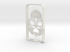 Iphone 4s Case Skull in White Strong & Flexible