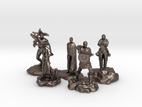 Cleric, Fighter, Rogue, Ranger, and Sorcerer in Polished Bronzed Silver Steel