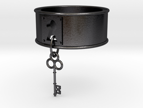 Lock And Key Ring Band size 7 in Polished and Bronzed Black Steel