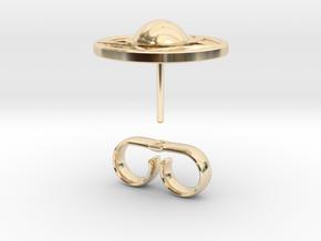 Buckler earring stud (14th c. Shield) in 14K Yellow Gold