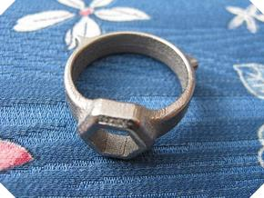 US10.5 Tool Ring XII in Polished Nickel Steel