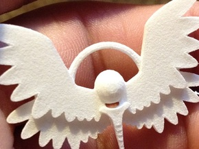 Winged Keychain in White Natural Versatile Plastic