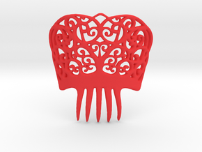Spanish Peineta Hair Comb in Red Strong & Flexible Polished