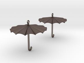 Umbrella Earrings in Polished Bronzed Silver Steel